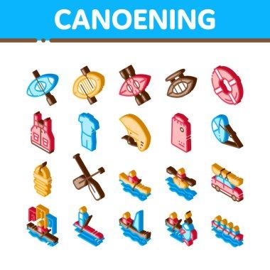 Canoeing Elements Icons Set Vector. Isometric Canoe Transportation On Car And Canoening Protection Safety Life Equipment Illustrations icon