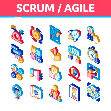 Scrum Agile Elements Vector Icons Set. Isometric Agile Rocket And Document File, Gear And Package, Loud-speaker And Stop Watch Illustrations icon