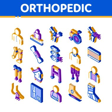 Orthopedic Elements Vector Icons Set. Isometric Orthopedic And Trauma Rehabilitation, Cervical Collar And Walkers Concept Pictograms. Medical Rehab Goods Illustrations icon
