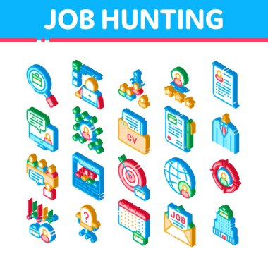 Job Hunting Elements Vector Icons Set. Isometric Hunting Business People And Recruitment Candidate, Team Work And Partnership Illustrations icon