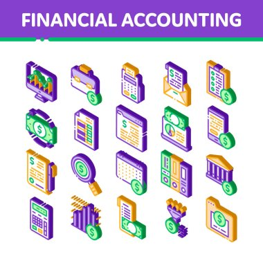 Financial Accounting Vector Icons Set. Isometric Money Dollar Sings On Smartphone Display And Magnifier, Web Site And Laptop Financial Illustrations icon