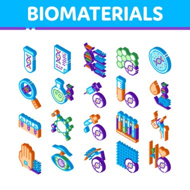 Biomaterials Elements Vector Icons Set. Isometric Biology And Science Flasks, Bioengineering, Dna And Medicine Vaccine Biomaterials Illustrations icon