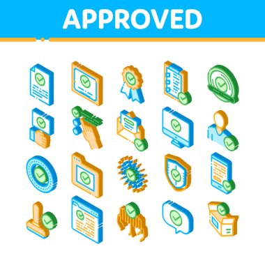 Approved Elements Vector Icons Set. Isometric Approved Sings On Document File And Hands, Computer Monitor And Smartphone Display Illustrations icon