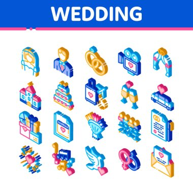 Wedding Vector Icons Set. Isometric Bride And Groom, Rings And Limousine Wedding Elements Pictograms. Church And Arch, Fireworks And Dancing Illustrations icon