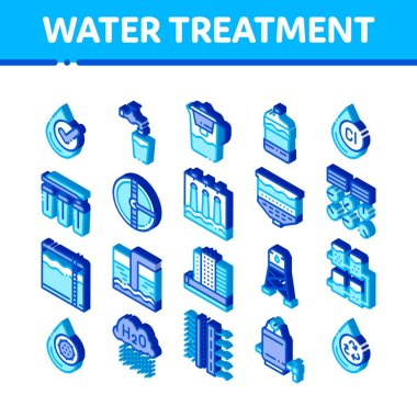 Water Treatment Items Vector Icons Set. Isometric Filter And Cleaning System Water Treatment Elements From Microbe Germs Pictograms. Rain Cloud And Pump Station Illustrations icon