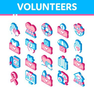 Volunteers Support Vector Icons Set. Isometric Volunteers Support, Charitable Organizations Pictograms. Blood Donor, Food Donations, Financial Help, Humanitarian Aid Illustrations icon
