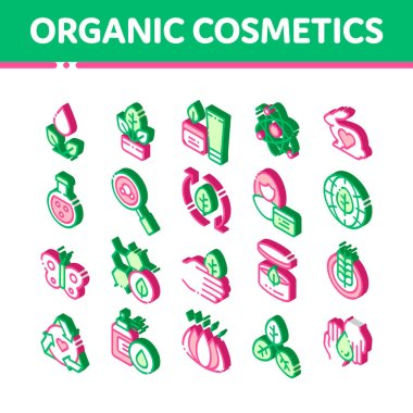 Organic Cosmetics Vector Icons Set. Isometric Organic Cosmetics, Natural Ingredient Pictograms. Eco-friendly, Cruelty-free Product, Molecular Analysis, Scientific Research Illustrations icon