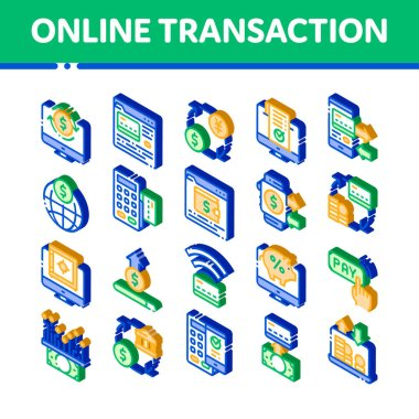 OnTransactions Vector Icons Set. Isometric OnTransactions, Secure Financial Payment Operation Pictograms. Internet Banking Money Deposit, Currency Exchange Illustrations icon