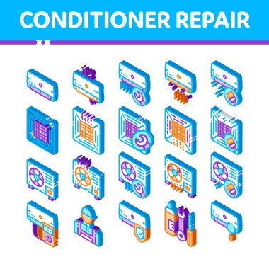 Conditioner Repair Vector Icons Set. Isometric Conditioner Repair, Fixing Equipment Pictograms. Air Conditioning System Maintenance, Technical Support, Tools Kit Illustrations icon