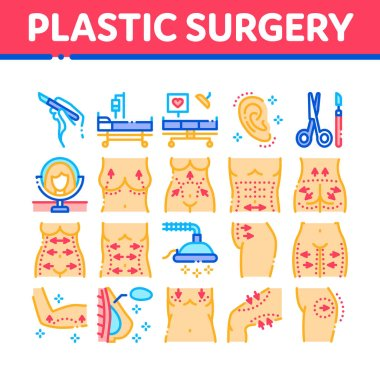 Plastic Surgery Clinic Collection Icons Set Vector. Scissors And Scalpel Doctor Instrument, Breast And Abdomen Tightening Plastic Surgery Concept Linear Pictograms. Color Illustrations icon