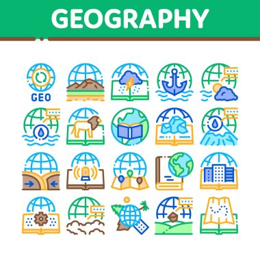 Geography Education Collection Icons Set Vector. History And Urban Geography, Climatology And Oceanology, Meteorology And Hydrology Concept Linear Pictograms. Color Illustrations icon