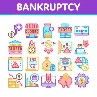 Bankruptcy Business Collection Icons Set Vector. Bankruptcy Shop And Company, Closed Office And Store, Tax And Crisis, Broken Card And Piggy Concept Linear Pictograms. Color Illustrations icon