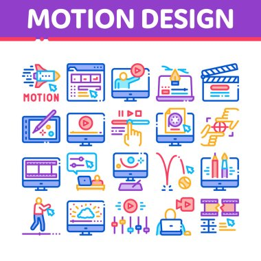 Motion Design Studio Collection Icons Set Vector. Movie Motion Redactor Programme On Computer Screen And Video Player, Filmstrip And Clipboard Linear Pictograms. Color Illustrations icon