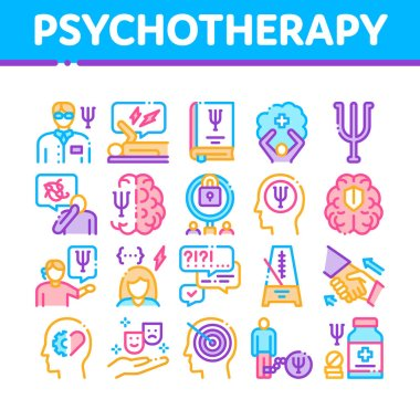Psychotherapy Help Collection Icons Set Vector. Handshake And Brain, Psychotherapist And Patient, Psychotherapy Treatment Concept Linear Pictograms. Color Illustrations icon