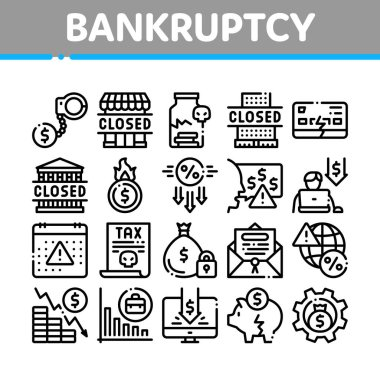 Bankruptcy Business Collection Icons Set Vector. Bankruptcy Shop And Company, Closed Office And Store, Tax And Crisis, Broken Card And Piggy Concept Linear Pictograms. Monochrome Contour Illustrations icon