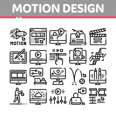 Motion Design Studio Collection Icons Set Vector. Movie Motion Redactor Programme On Computer Screen And Video Player, Filmstrip And Clipboard Linear Pictograms. Monochrome Contour Illustrations icon