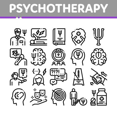 Psychotherapy Help Collection Icons Set Vector. Handshake And Brain, Psychotherapist And Patient, Psychotherapy Treatment Concept Linear Pictograms. Monochrome Contour Illustrations icon
