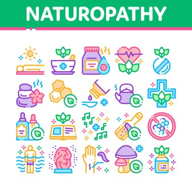 Traditional Naturopathy Medicine Icons Set Vector. Naturopathy Alternative Therapy With Honey And Herb, Music And Mushrooms Concept Linear Pictograms. Color Illustrations icon
