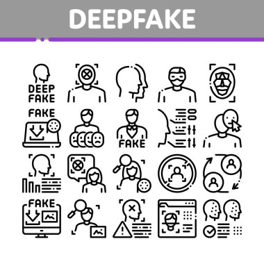 Deepfake Face Fake Collection Icons Set Vector. Human Face Research And Change, Computer Video Analysis And Downloading Image Concept Linear Pictograms. Monochrome Contour Illustrations icon
