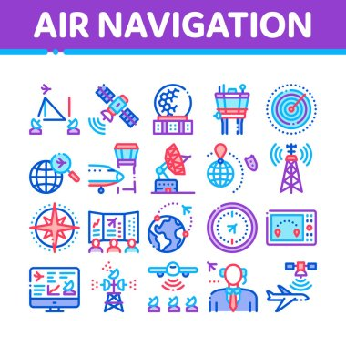 Air Navigation Tool Collection Icons Set Vector. Air Navigation Dispatcher And Traffic Control Building, Satellite And Radar Concept Linear Pictograms. Color Illustrations icon