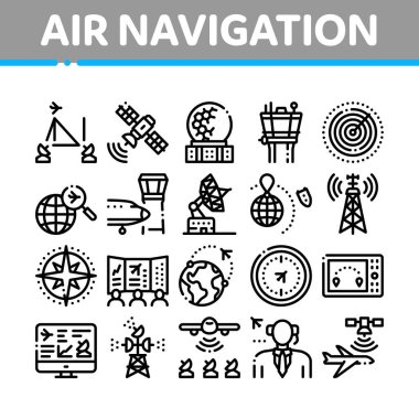 Air Navigation Tool Collection Icons Set Vector. Air Navigation Dispatcher And Traffic Control Building, Satellite And Radar Concept Linear Pictograms. Monochrome Contour Illustrations icon