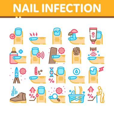 Nail Infection Disease Collection Icons Set Vector. Nail Infection And Treatment, Virus And Research, Smell Boot And Feet Wash Concept Linear Pictograms. Color Contour Illustrations icon