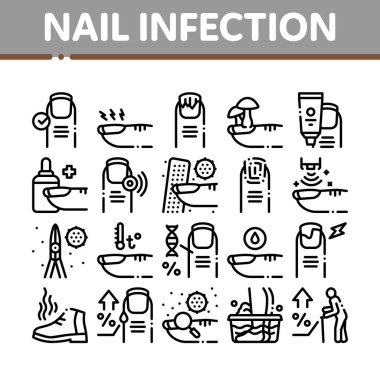 Nail Infection Disease Collection Icons Set Vector. Nail Infection And Treatment, Virus And Research, Smell Boot And Feet Wash Concept Linear Pictograms. Contour Illustrations icon