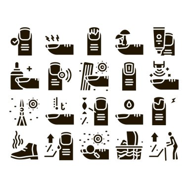 Nail Infection Disease Glyph Set Vector. Nail Infection And Treatment, Virus And Research, Smell Boot And Feet Wash Glyph Pictograms Black Illustrations icon