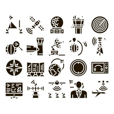 Air Navigation Tool Glyph Set Vector. Air Navigation Dispatcher And Traffic Control Building, Satellite And Radar Glyph Pictograms Black Illustrations icon