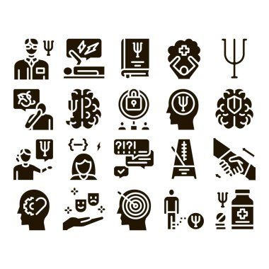 Psychotherapy Help Glyph Set Vector. Handshake And Brain, Psychotherapist And Patient, Psychotherapy Treatment Glyph Pictograms Black Illustrations icon