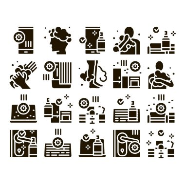 Hygiene And Healthcare Glyph Set Vector. Cleaning Mobile Phone And Handle Sanitized Antiseptic, Wash Hand, Head And Body Hygiene Glyph Pictograms Black Illustrations icon