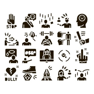 Bullying Aggression Glyph Set Vector. Internet Bullying And Name-calling, Beating And Showing Indecent Gesture Glyph Pictograms Black Illustrations icon