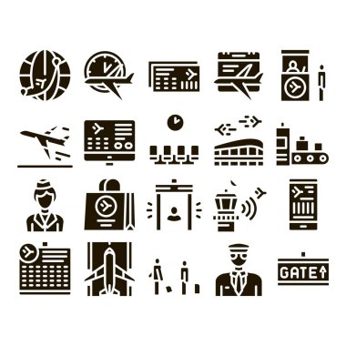 Airline And Airport Glyph Set Vector. Airline Worldwide Direction And Ticket, Pilot And Stewardess, Airplane And Calendar Glyph Pictograms Black Illustrations icon