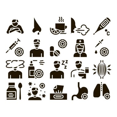 Flu Symptoms Medical Glyph Set Vector Thin Line. Chills And Fever, Cough And Runny Nose, Flu Virus In Lungs And Stomach Glyph Pictograms Black Illustrations icon