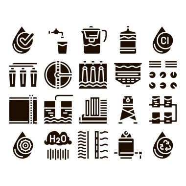 Water Treatment Items Glyph Icons Set Vector. Filter And Cleaning System Water Treatment Elements From Microbe Germs Pictograms. Rain Cloud And Pump Station Glyph Pictograms Black Illustrations icon