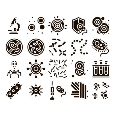 Pathogen Elements Vector Sign Icons Set. Pathogen Bacteria Microorganism, Microbes And Germs Pictograms. Analysis In Flask, Microscope And Injection Glyph Pictograms Black Illustrations icon