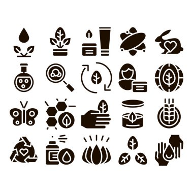Organic Cosmetics Glyph Icons Set Vector. Organic Cosmetics, Natural Ingredient . Eco-friendly, Cruelty-free Product, Molecular Analysis, Scientific Research Glyph Pictograms Black Illustrations icon