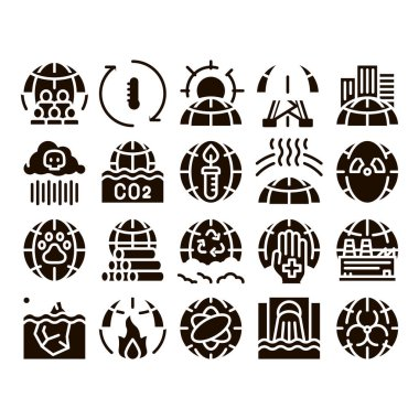 Environmental Problems Glyph Icons Set Vector. Environmental Problem, Industrial Pollution, Contamination Greenhouse Effect, Global Warming, Climate Change Glyph Pictograms Black Illustrations icon