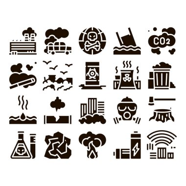 Pollution of Nature Glyph Icons Set Vector. Environmental Pollution, Chemical, Radiological Contamination Pictograms. Gas, CO2 Emissions, Dirty Soil, Water, Air Glyph Pictograms Black Illustrations icon