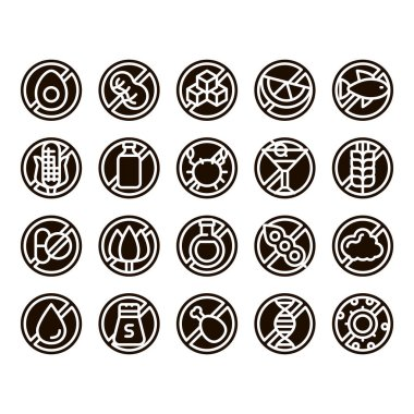 Allergen Free Products Glyph Icons Set Vector. Allergen Free Food, Drink Pictograms. Healthy Produce, Safe Dairy, Poultry, Cereals. Genetic Nutrients Intolerance Glyph Pictograms Black Illustrations icon