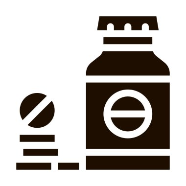 Bio Supplements Drugs Bottle Vector Icon. Sportsman Plastic Container With Healthy Balancer Drugs Pictogram. Dietary Protein Ingredient, Bar Bodybuilding Contour Illustration icon