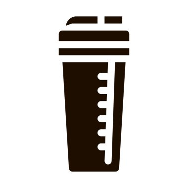 Sport Cup Equipment Shaker Vector Icon. Bio Balancers Muscle Sportsman Nutrition Plastic Shaker Pictogram. Dietary Protein Ingredient, Bar Bodybuilding Contour Illustration icon