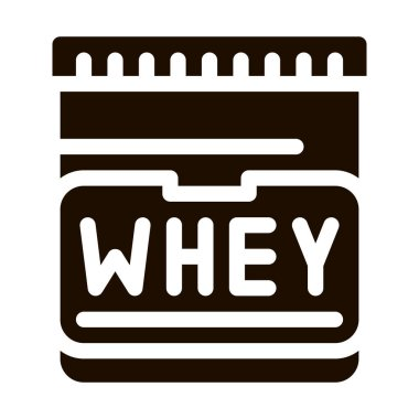 Whey Protein Container Sport Vector Icon. Creatine Powder Sport Nutrition for Sportsman Pictogram. Dietary Ingredient, Bar for Bodybuilding Contour Illustration icon
