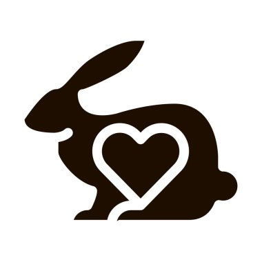 Animal Rabbit And Heart Vector Icon. Testing Organic Cosmetic On Animal, Natural Component Pictogram. Ecology, Cruelty-free Product, Molecular Analysis Contour Illustration icon