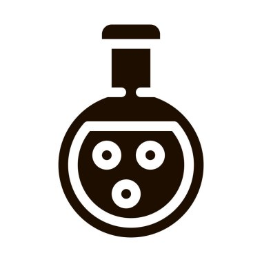 Flask With Chemical Liquid Vector Icon. Organic Cosmetic, Laboratory Liquid Natural Component Pictogram. Eco-friendly, Cruelty-free Product, Molecular Analysis Contour Illustration icon