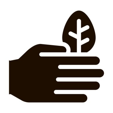 Hand Care Wood Leaves Tree Vector Icon. Organic Cosmetic, Natural Wood Component Pictogram. Eco-friendly, Cruelty-free Product, Molecular Analysis Contour Illustration icon