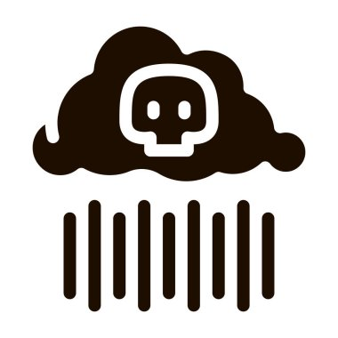 Acid Rain Earth Problem Vector Icon. Cloud Drops And Skull Environmental Problem, Industrial Pollution, Contamination Pictogram. Greenhouse Effect, Climate Change Contour Illustration icon