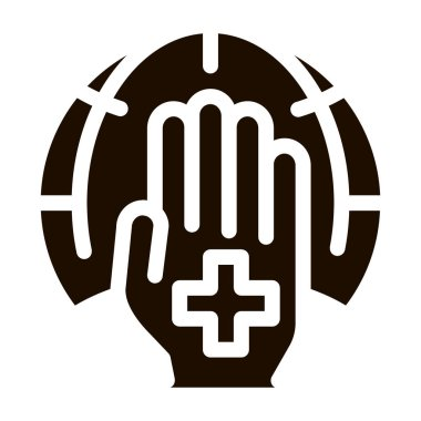 Cross On Hand Palm Planet Vector Icon. Planet Protection Against Climate Environmental Problem, Industrial Pollution Pictogram. Greenhouse Effect Global Warming Contour Illustration icon