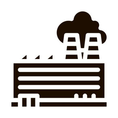 Industrial Plant Building Vector Icon. Build Factory Plant Environmental Pollution, Chemical, Radiological Contamination Pictogram. Dirty Soil, Water, Air Contour Illustration icon