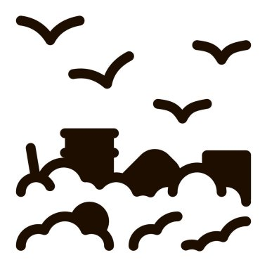 Building Smog And Birds Vector Icon. City Town Environmental Pollution, Chemical, Industrial Smog Steam Pictogram. Dirty Soil, Water, Air Contour Illustration icon